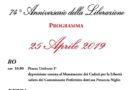 RIVA DEL PO, FESTA DELLA LIBERAZIONE – 74° ANNIVERSARIO – MERCOLEDI' 25 APRILE 2019 –