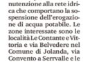 Jolanda-Serravalle – Disagi all'acqua per interventi alla rete – domani dalle 8,30 alle 19,00